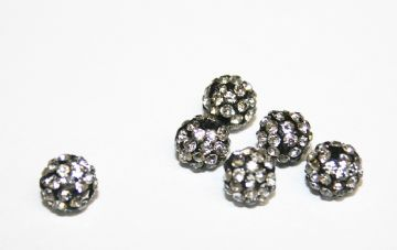 10pcs x 6mm Black/Clear Pave Crystal Bead - 2 holes - PCB06-55-003